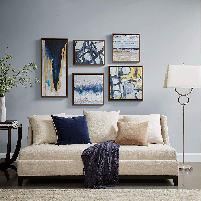 Blue bliss blue grey framed canvas wall art 19
