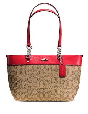 cd2a39b83f Smartly colorblocked in a graphic mix of smooth leather and custom  jacquard, this small tote goes from work to weekend with a playful pop of  color.