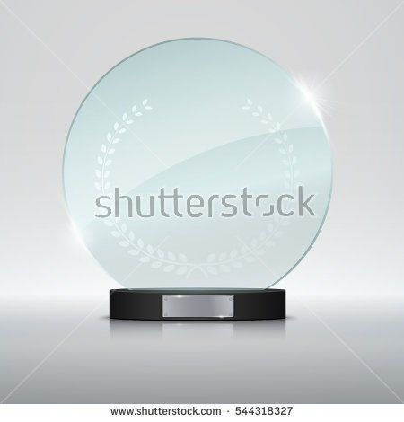 Circle Glass Trophy Award Vector Illustration Isolated On Grey