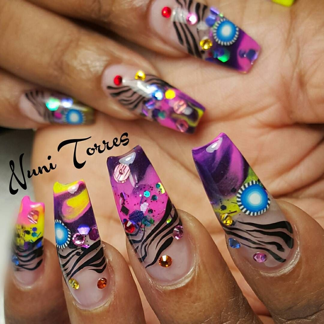 Neon Multicolor Ballerina Nails With Rhinestones. By nunis_nails ...