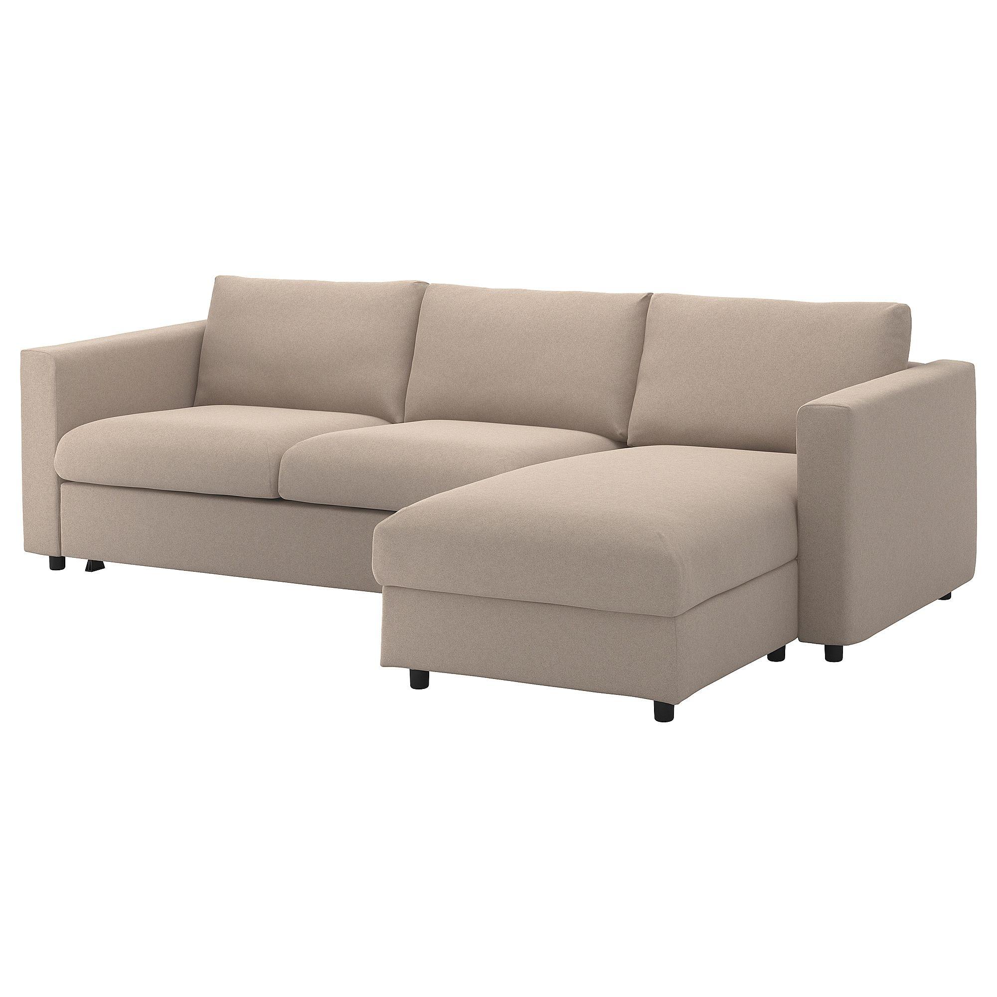 Finnala Sleeper Sofa With Chaise Tallmyra Beige Ikea In 2020 Sofa Bed With Chaise Sleeper Sofa 3 Seat Sofa Bed