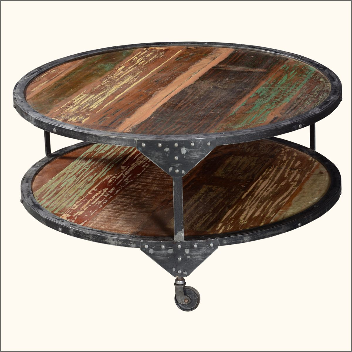 2 Tier Round Distressed Industrial Coffee Table Round Industrial Coffee Table Industrial Coffee Table Coffee Table Farmhouse [ 1200 x 1200 Pixel ]