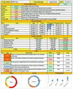 Weekly Status Report Format Excel  Project Control