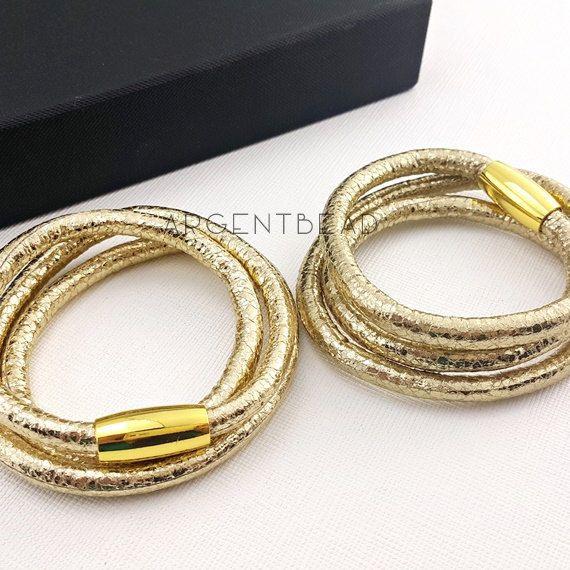 1pc 24inch length PU Eco Leather Triple Wrap Bracelet silver rose gold  Magnetic Clasp   wedding bracelet bridal wedding bracelet AG0011 by  Argentbead on ... d205298b6e86