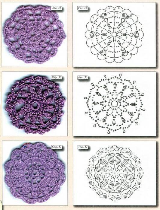 40 Esquemas Crochet de Motivos Circulares | Esquemas, Cuadrados y ...
