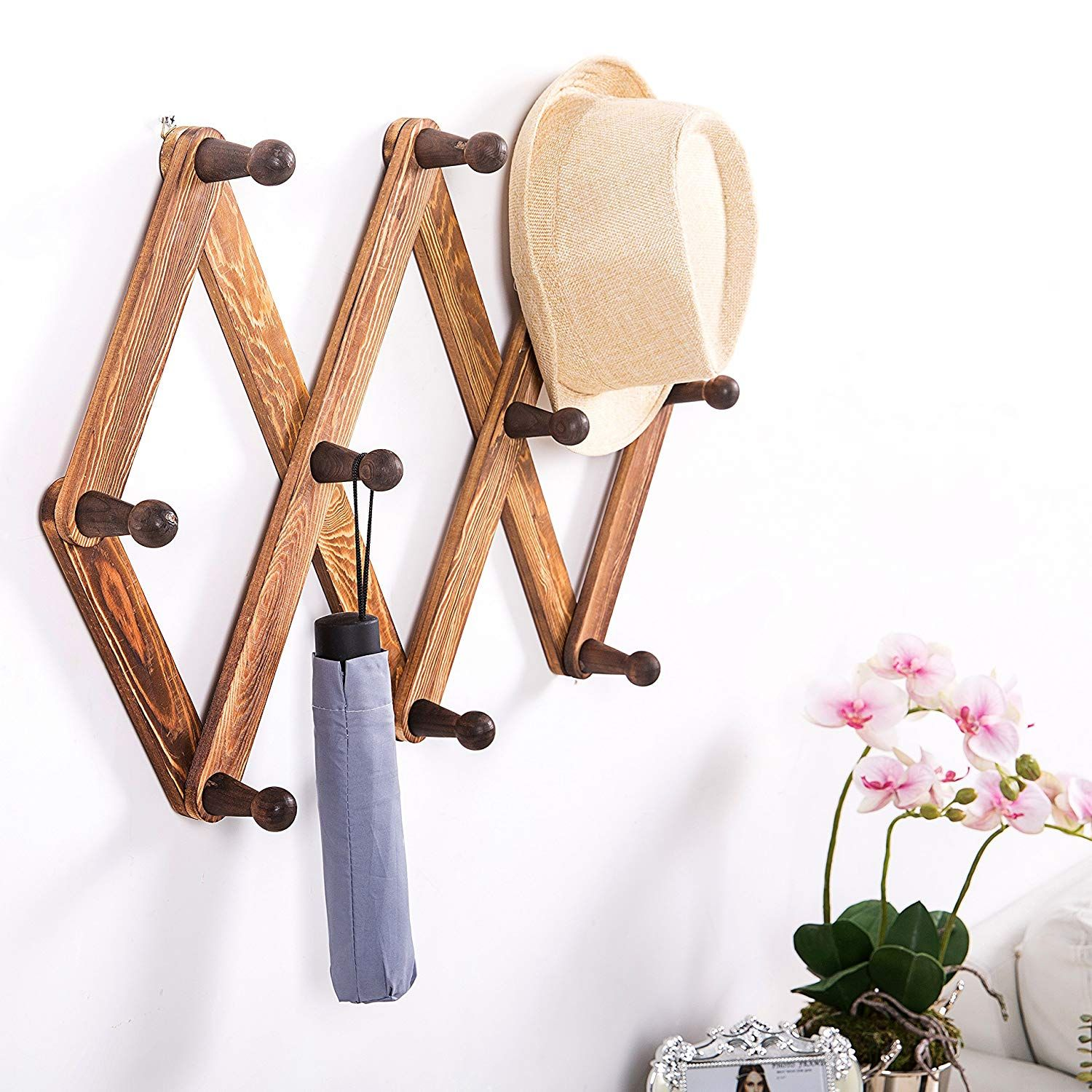Stylish Dark Wood Wall Rack Hanging Hats Scarf Rack Tree Coat Rack