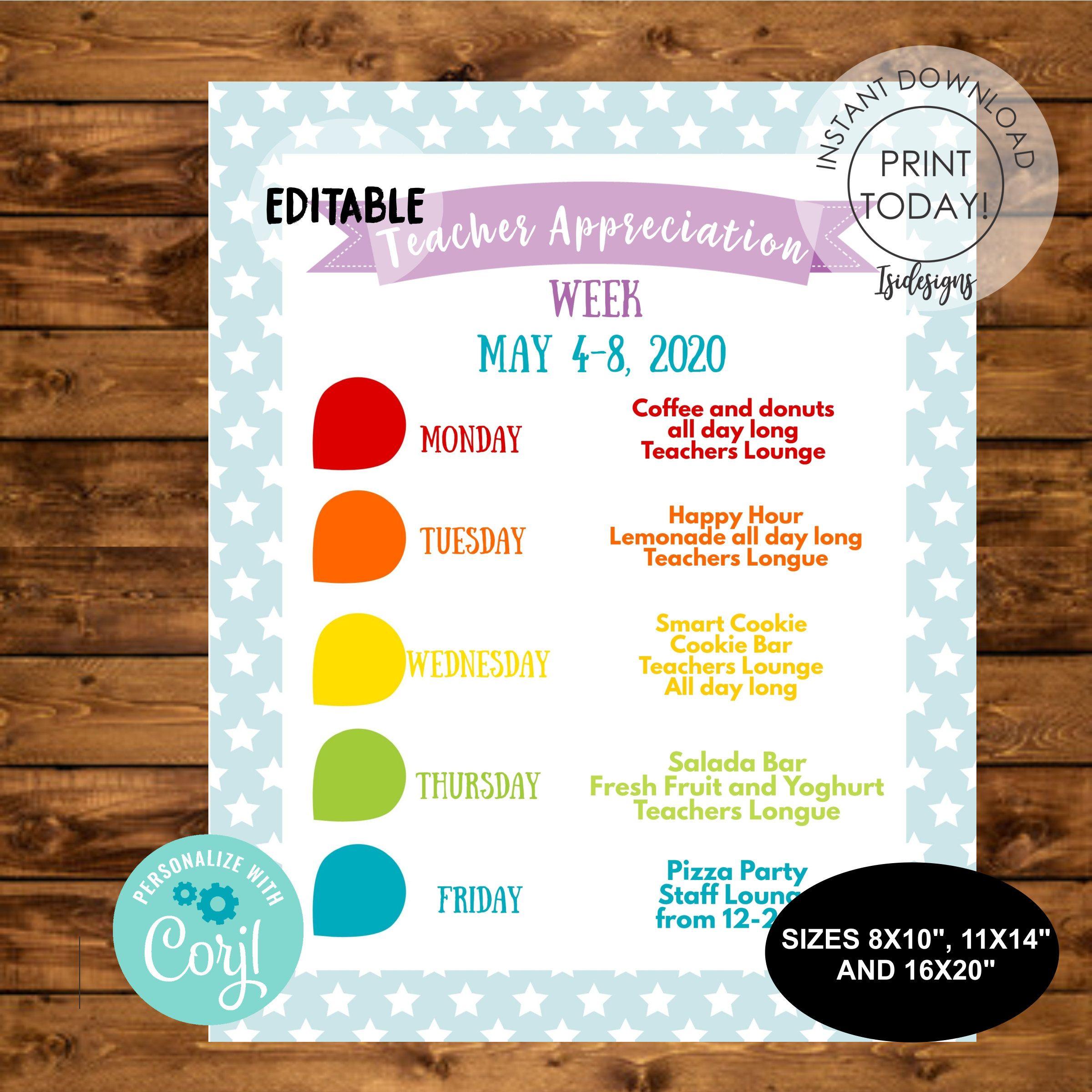 Teacher Appreciation Week Flyer Instant Download Editable Etsy Teacher Appreciation Week Teacher Appreciation Fundraiser Flyer
