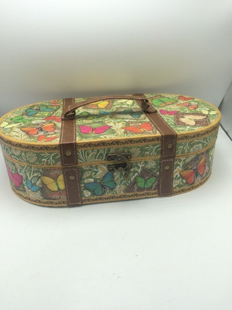 Punch Studio Butterfly Keepsake Decorative Storage Box Designer Green  Floral #PunchStudio #Butterflies