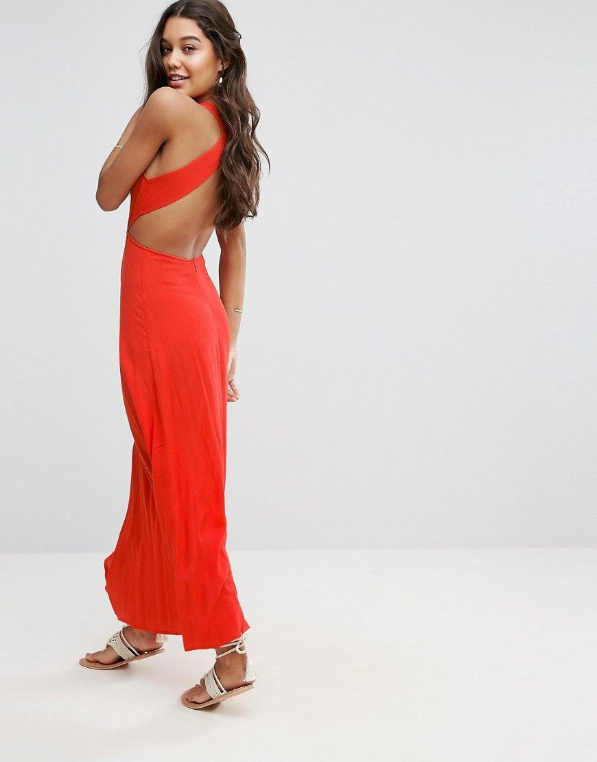 4673d79fb28 ASOS Open Back Maxi Dress in Crinkle Fabric - Red | Products ...
