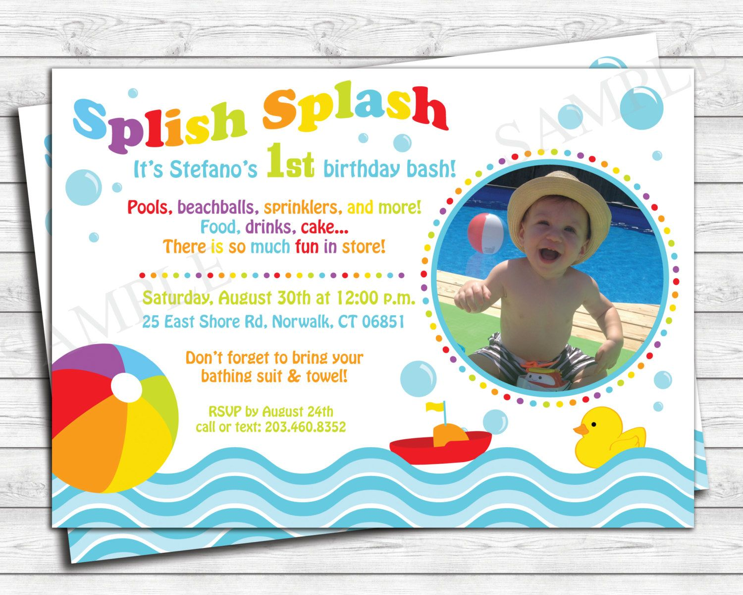 Pool Party Birthday Invitation - Kids Birthday Invite - Beach ...