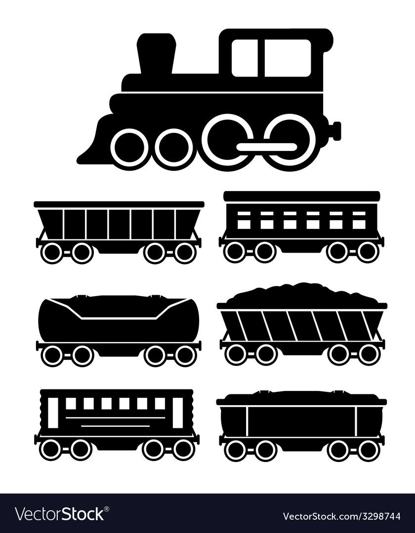 Set Train Cars For Travel Or Cargo Delivery Vector Image Affiliate Cars Travel Set Train Ad Train Silhouette Train Wall Art Train