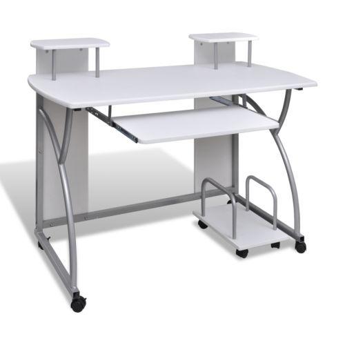 Computertisch Schreibtisch Büro Mobiler Computerwagen PC-Tisch Laptop weiß #Ssparen25.com , sparen25.de , sparen25.info