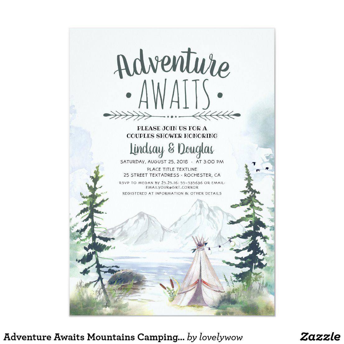 Adventure Awaits Mountains Camping Couples Shower Invitation   Zazzle.com#adventure #awaits #camping #couples #invitation #mountains #shower #zazzlecom