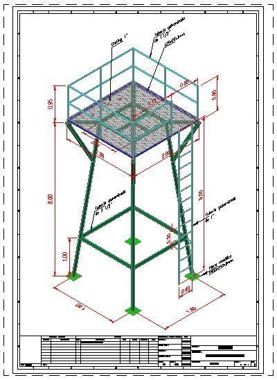 Torre para tanque elevado de agua 3d dwgdibujo de autocad for Estanque 1000 litros