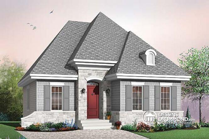 W2197 - Plan de maison aménagé pour baby-boomers avec plafond - site pour plan de maison