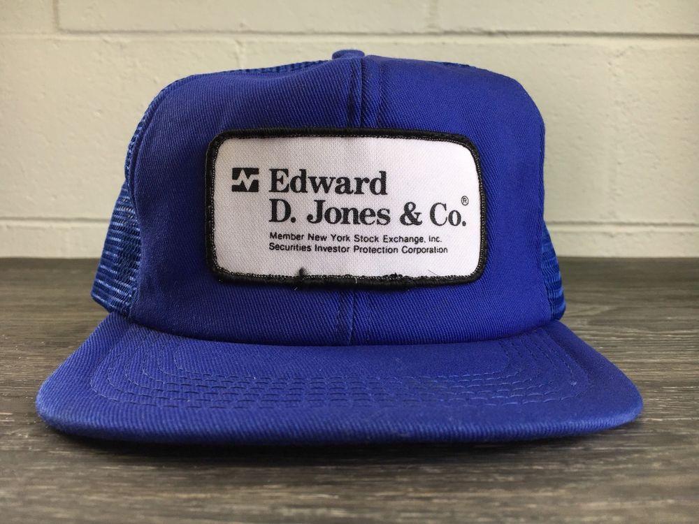 fd53dae9edb Wall Street Hat USA Vtg 70s 80s Patch Snapback Trucker Edward D. Jones   Co   UsaMade  Trucker