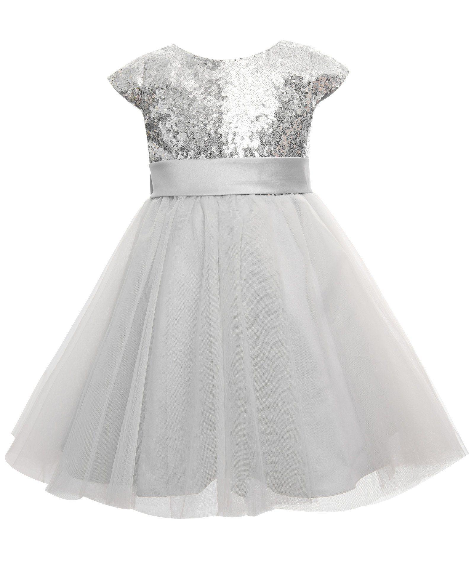 Princhar sequin tulle short girl dress little girls wedding party