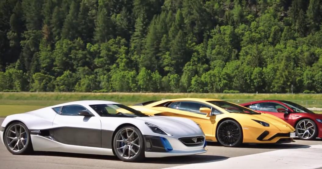 The Grand Tour Ev Supercar Drag Race Rimac Concept One Before The Crash Super Cars Grand Tour Drag Race