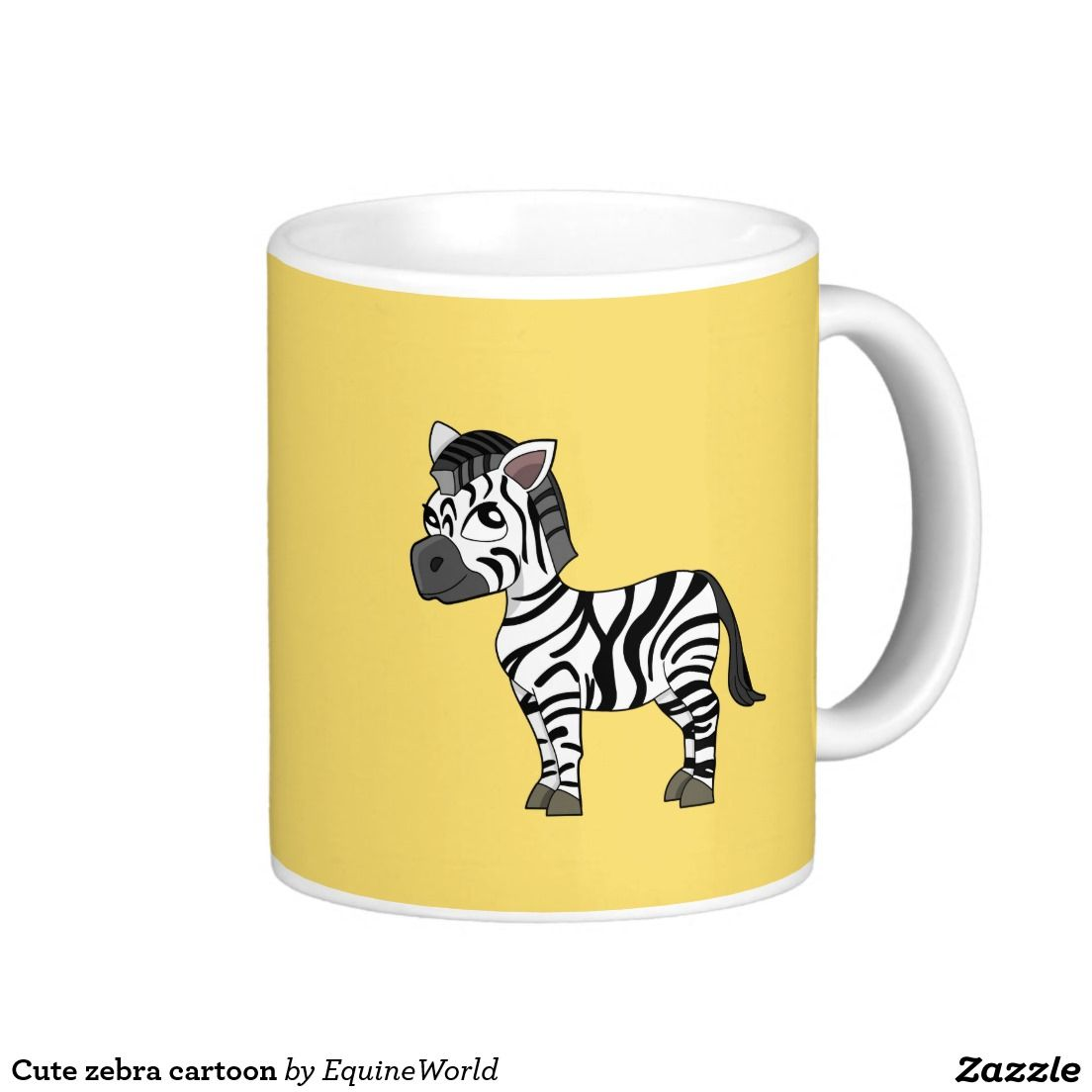 Cute zebra cartoon classic white coffee mug