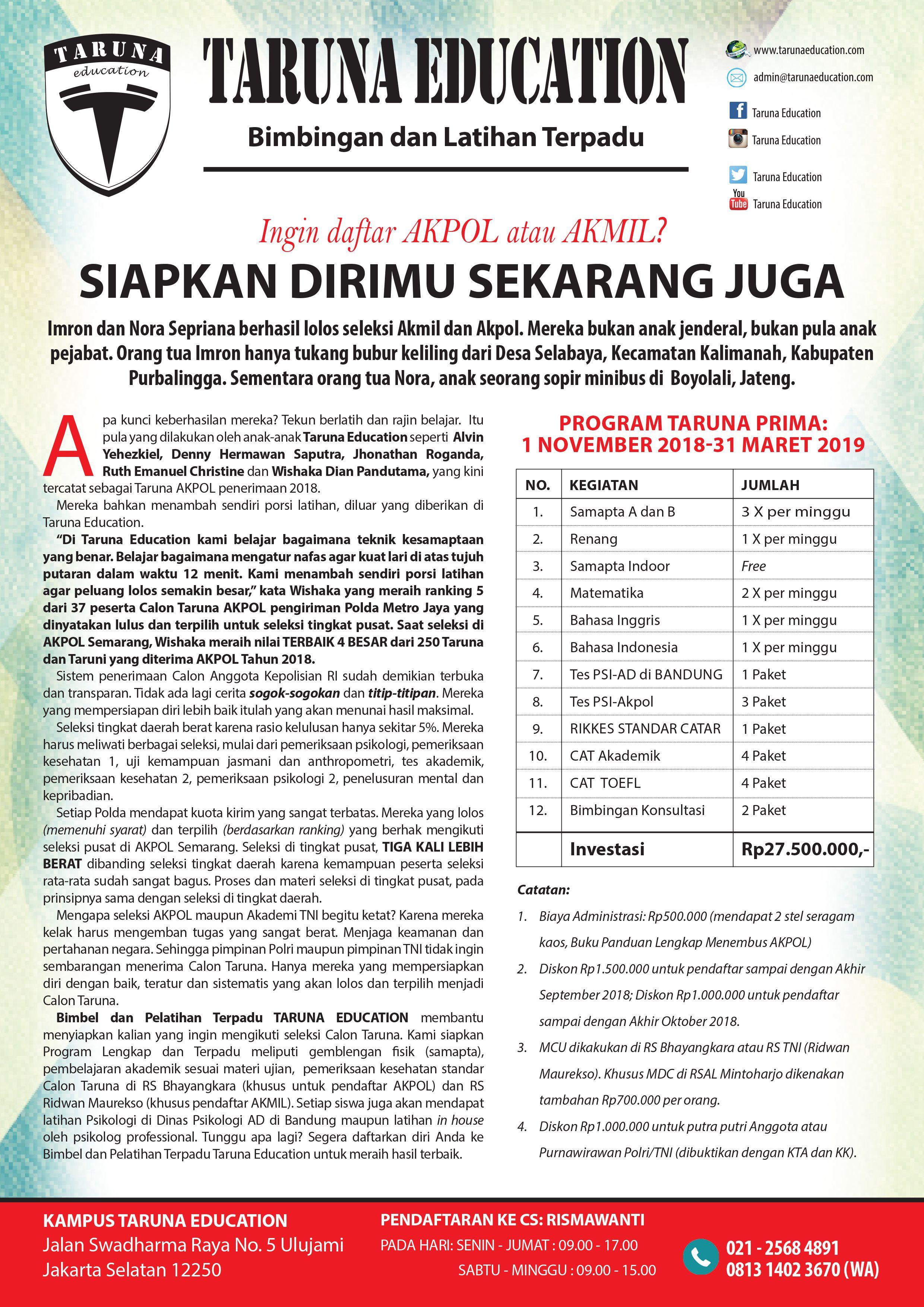 Program Taruna Prima Persiapan Seleksi Akpol Dan Akmil 2019