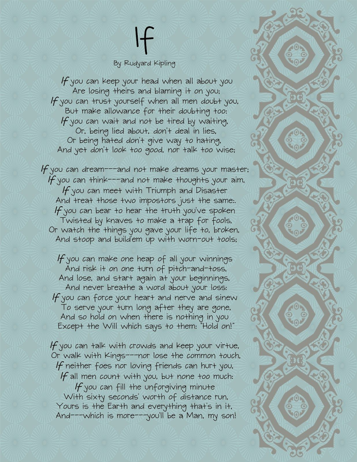 the brown eyes have it if by rudyard kipling printable the brown eyes have it if by rudyard kipling printable