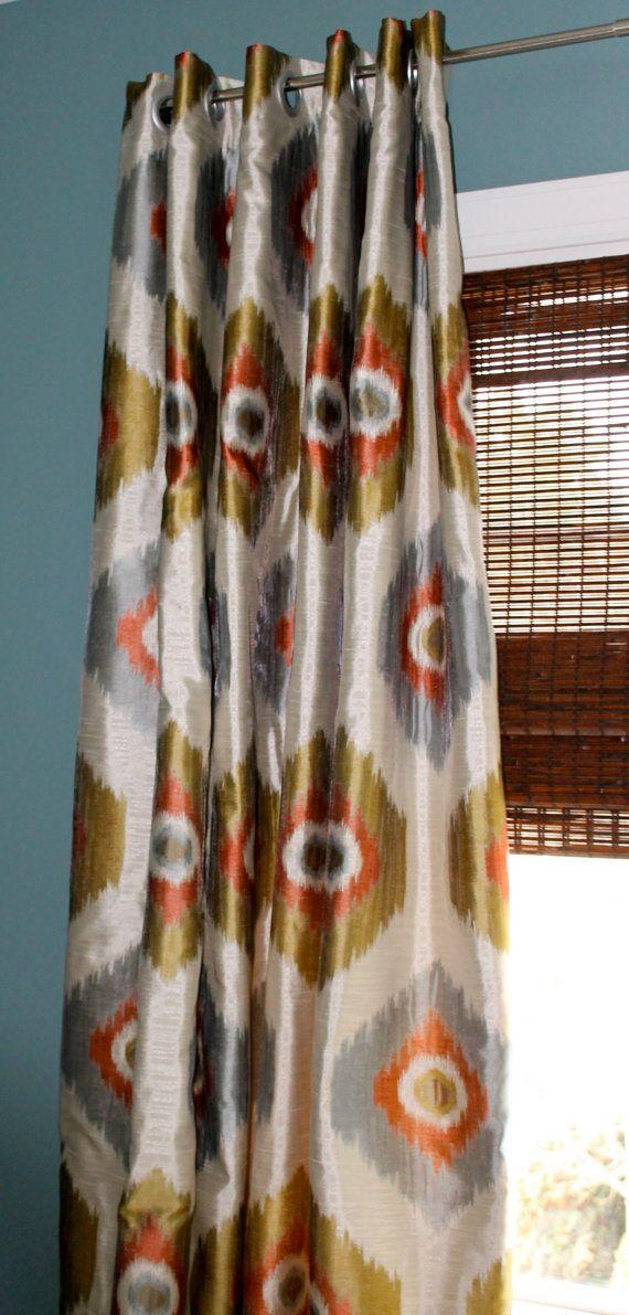 Orange Blue Gold and Creme Geometric Curtain by StitchandBrush, $285.00