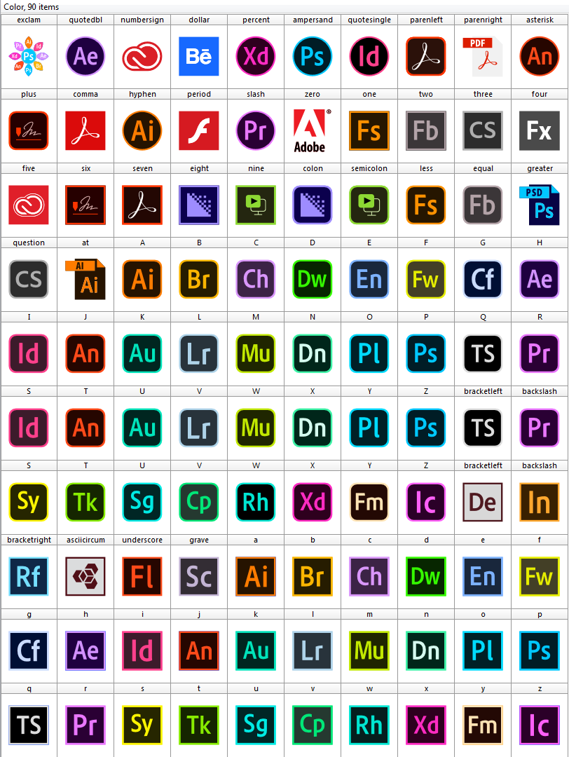 Download font adobe color Logos Programs adobe 90 icons | Fonts