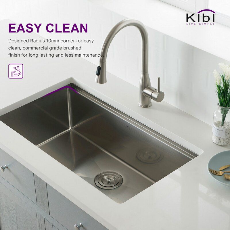 Handcrafted Stainless Steel 33 L X 19 W Undermount Kitchen Sink Undermount Kitchen Sinks Sink Kitchen Sink