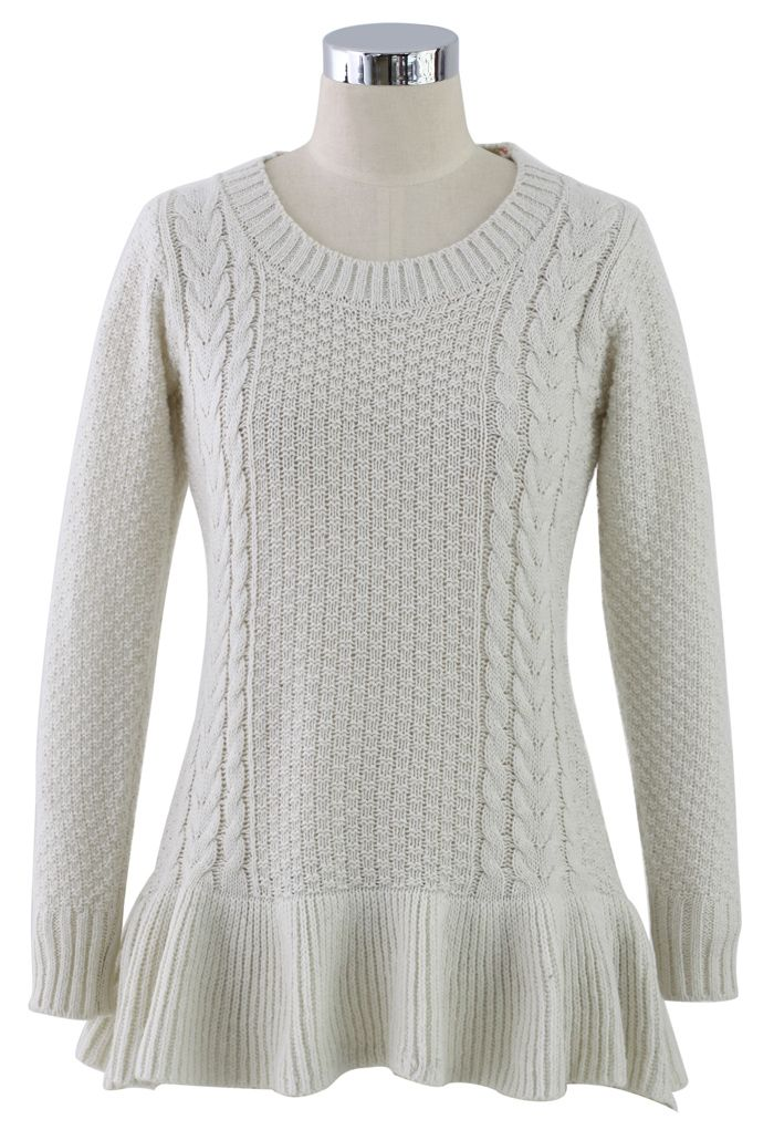 Frill Hem Knitted Top in Off White// | i\'d wear that. | Pinterest