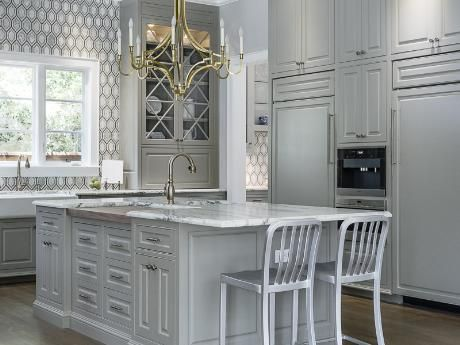 Kitchen Design Dallas Tx We Love The Slightly Metalic Wallpaper In This Modern Meets