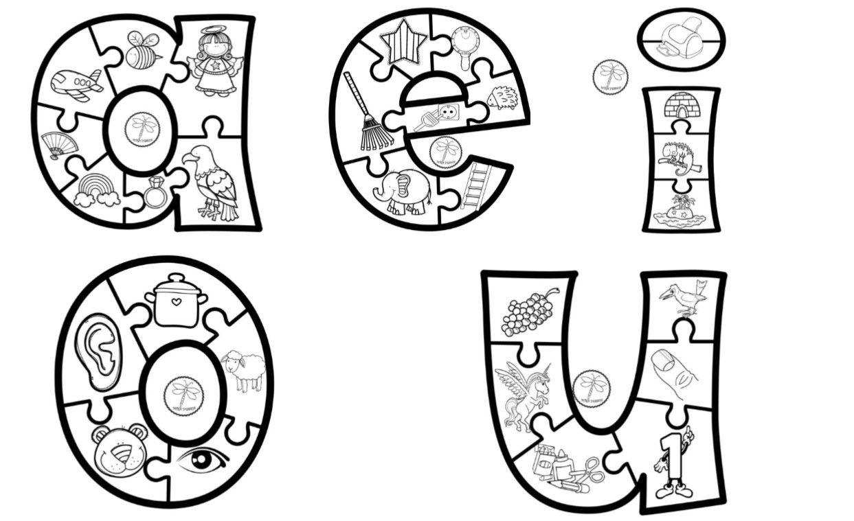 Vocales ilustradas para colorear y aprender, preescolar y primer ...