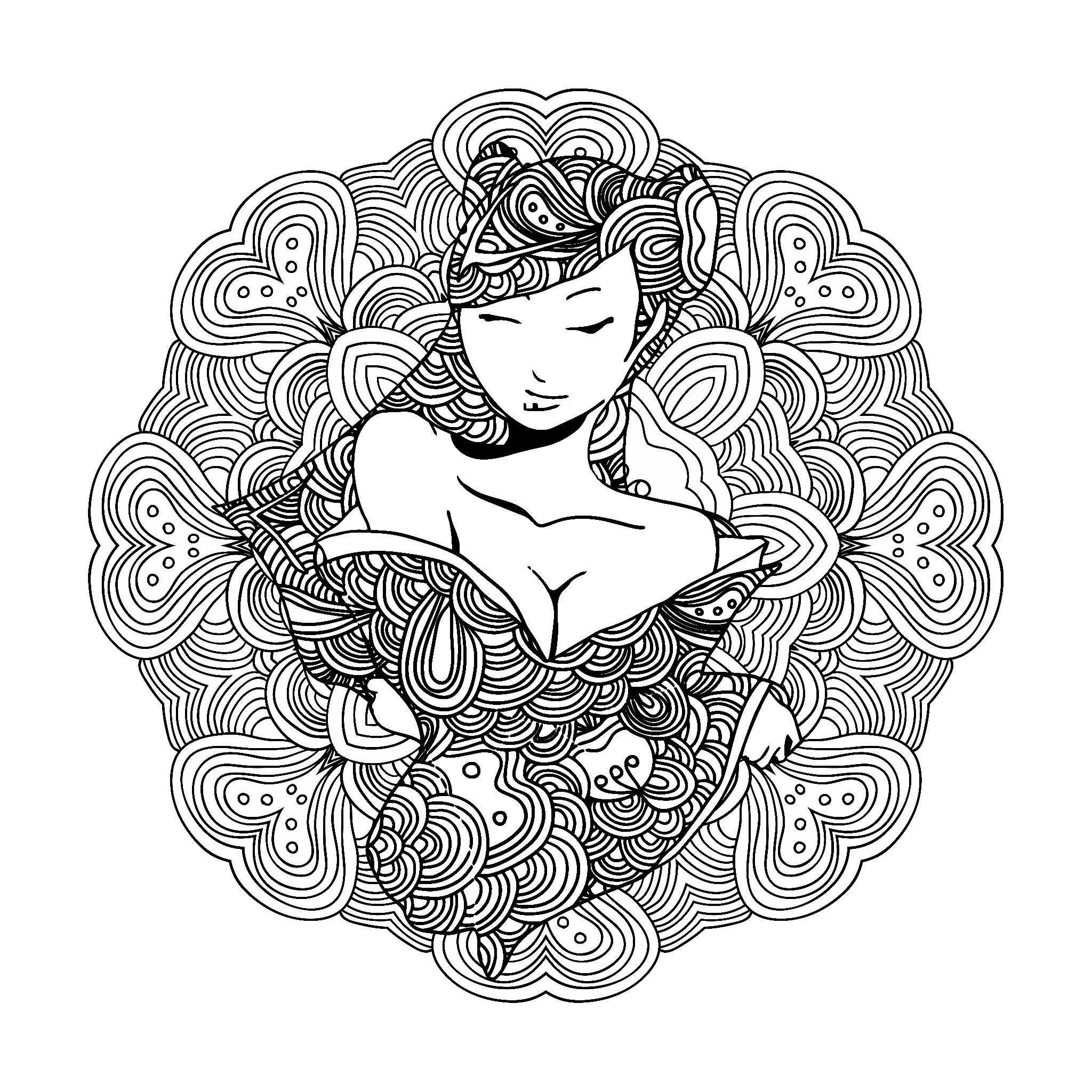 Stylized Vector Illustration Of A Beautiful Geisha Girl Can Be Used As Adult Coloring Book Page Card Mandala