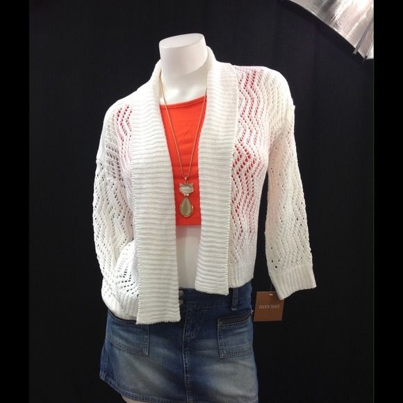 Crochet Cardigan White color. NO TRADES. Fits size Small Ellen Tracy Sweaters Cardigans
