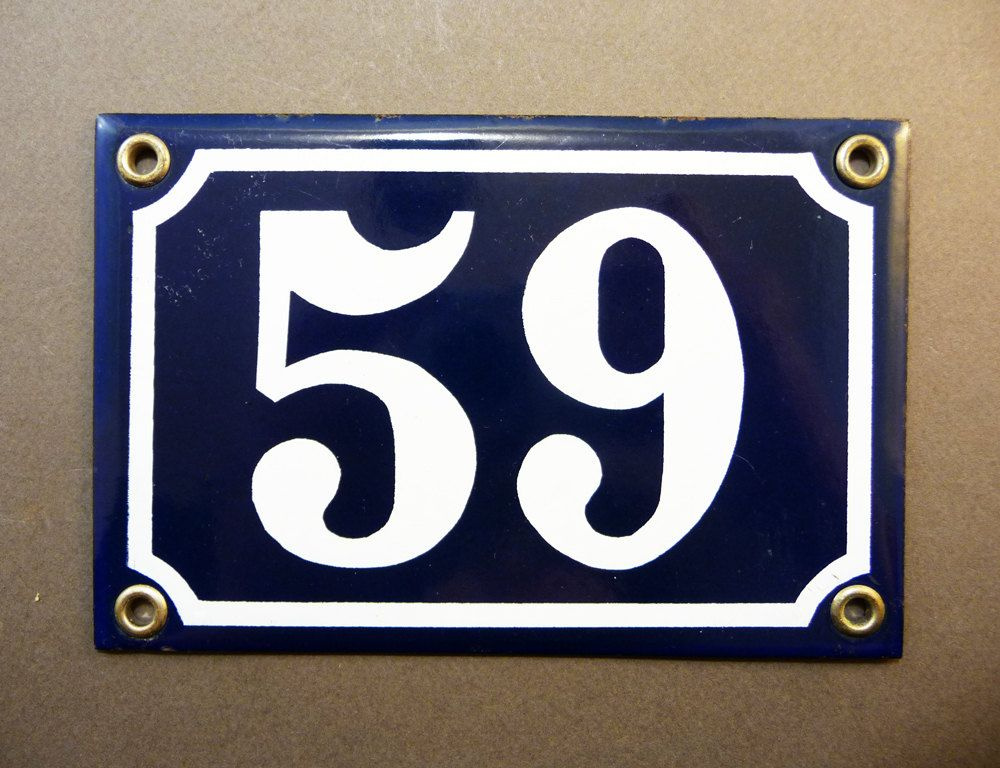 French Door Number  Blue Enamel Street Sign From  To