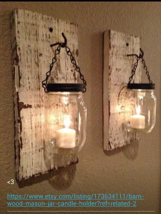 Ideas : Rustic barn candle holders from mason jars. On Etsy but not challenging to make.