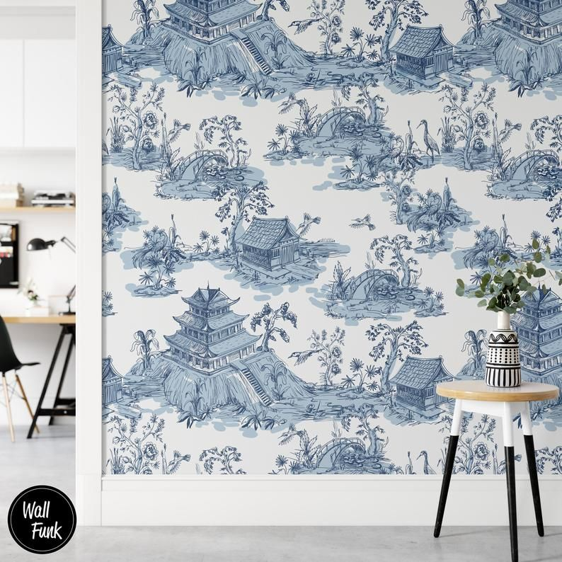 Removable Wallpaper Made With Recycled Paper Easy To Install Etsy In 2020 Wallpaper Decor Removable Wallpaper Blue White Decor