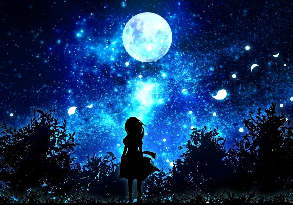 night sky with moon and stars MEMEs Anime scenery, Scenery