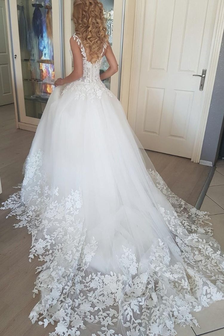 2019 Ball Gown Lace Up Tulle Wedding Dresses Romantic Bridal Dress With Appliques Lace Tulle Wedding Dresses Taffeta Tulle Wedding Dress Wedding Dress Organza