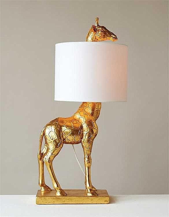 28 Gold Giraffe Lamp With White Linen Shade Giraffe Lamp Room Lamp Modern Lamp