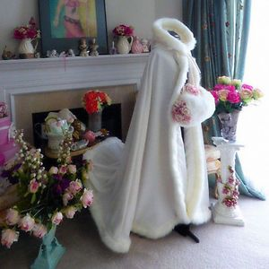 New-White-Hooded-Wedding-Cloak-With-Faux-Fur-Trim-Winter-Women-Coats-Wrap-Custom