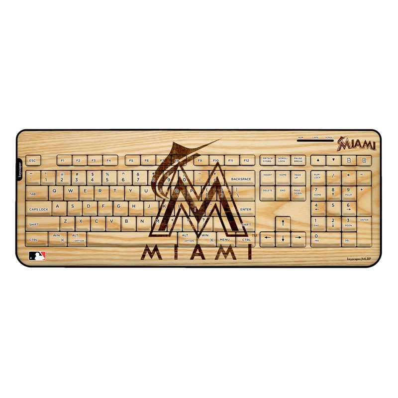 Miami Marlins Wood Print Wireless USB Keyboard