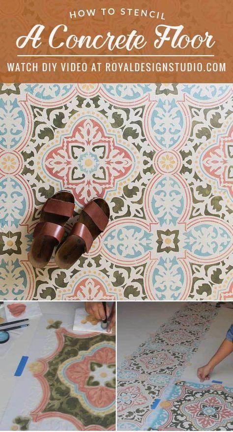 How Stencil Concrete Floor Easy Steps