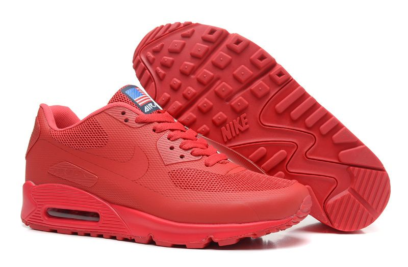 Red Nike Air Max 90 Hyperfuse Quickstrike (USA Independence Day Pack) Men's  Shoes #