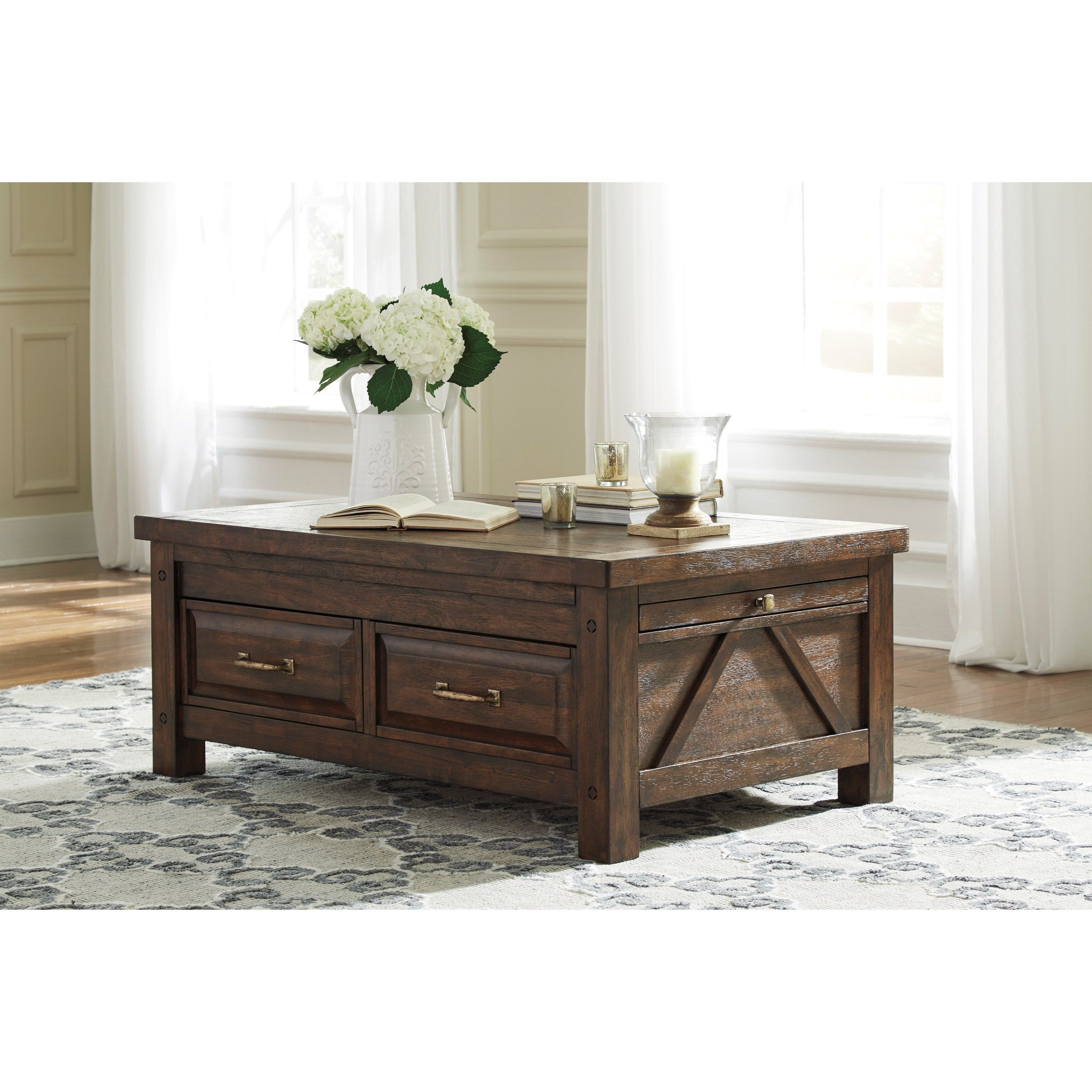 Cocktail table with storage drawers pullout tray