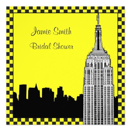 See MoreNYC Skyline2 Etched ESB Checkrd Taxi Bridal Shower InvitationsIn our offer link above you will see