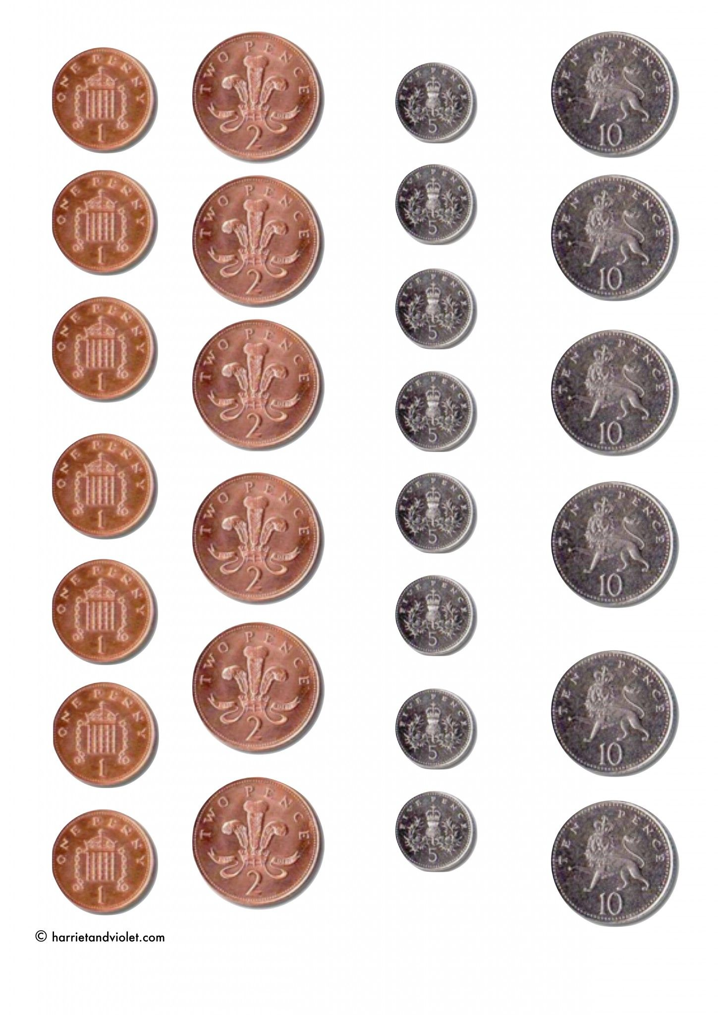 Printable coins for games, counting Printable Teaching