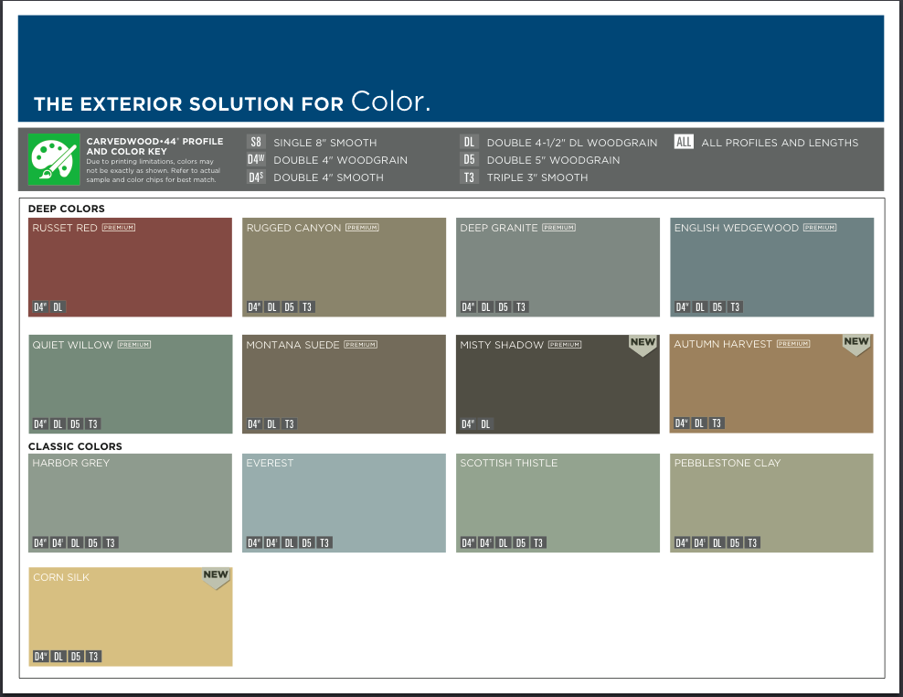 Mastic Ply Gem Siding Color Options We Install This