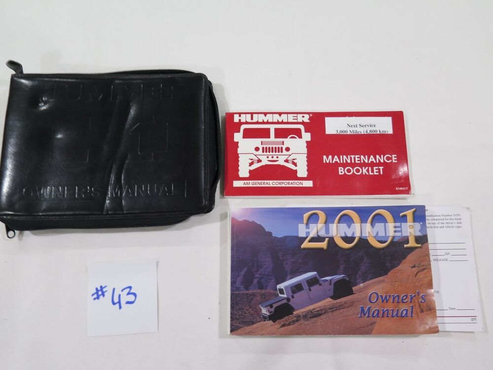 2001 Hummer H1 Owners Manual Set With Case Oem 43 Owners Manuals Hummer H1 Hummer