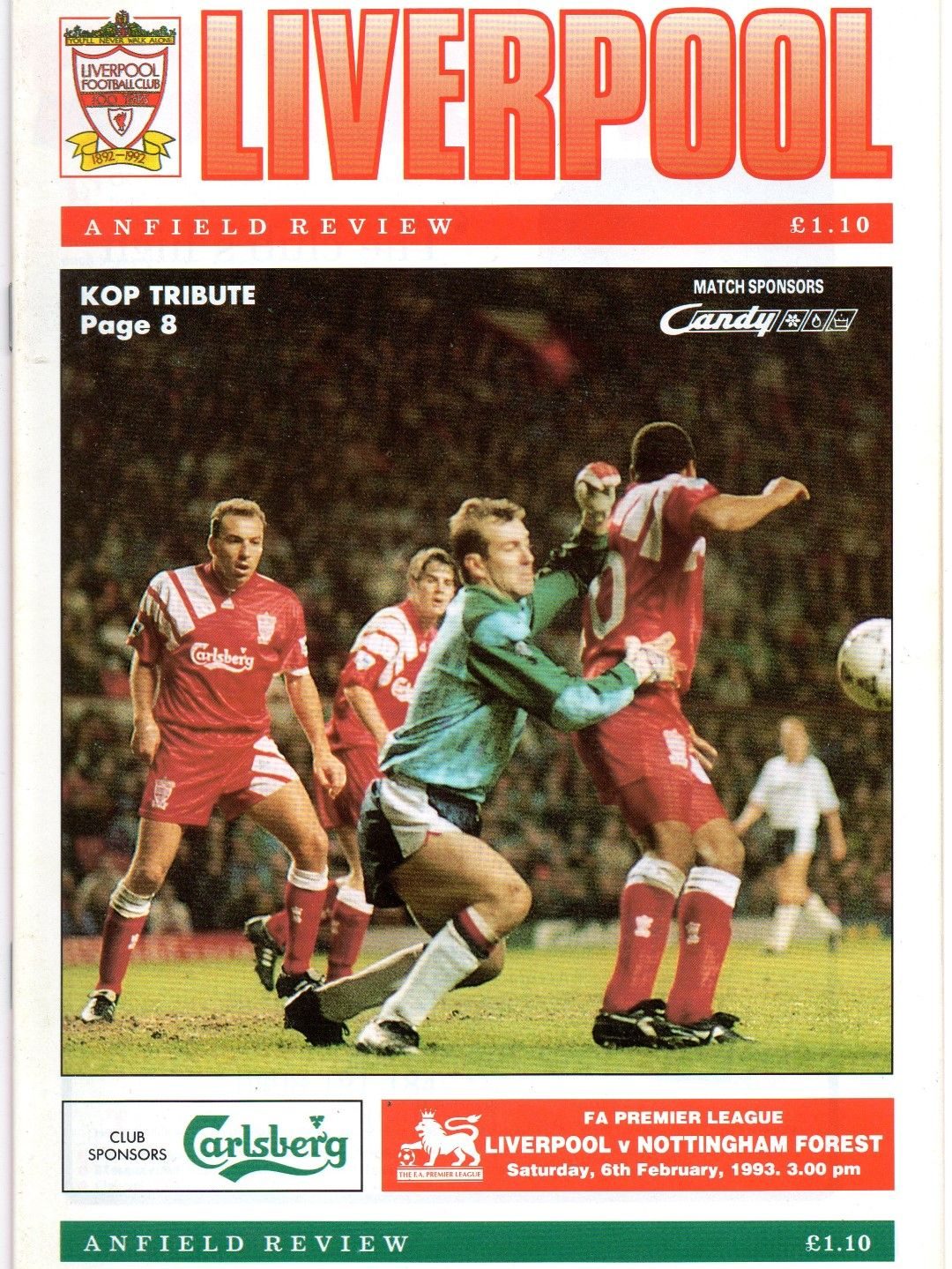 Liverpool 0 Nottm Forest 0 in Feb 1993 at Anfield. The
