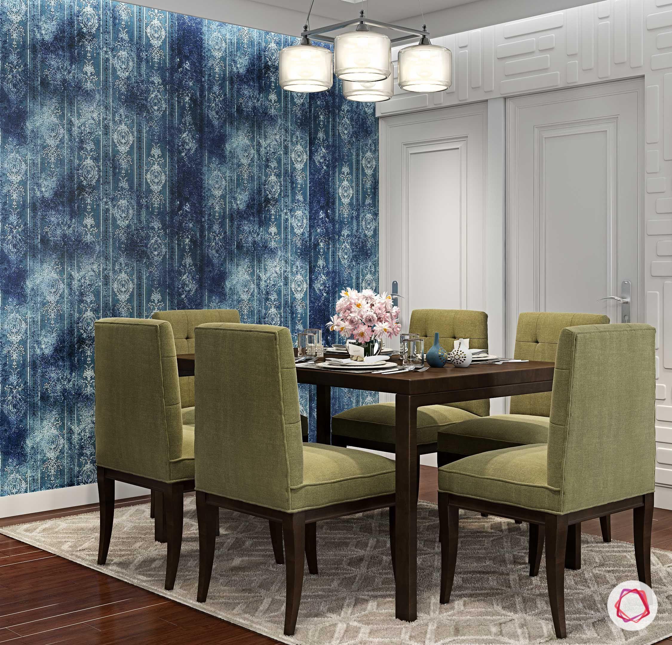 Diningroom Green Forest Blue Wallpaper Eclectic India Dining Room Design Best Dining Dining Room
